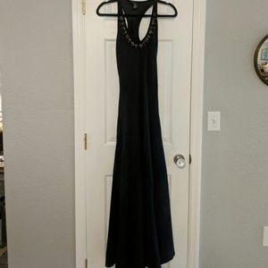 Black maxi dress with brass beaded detail size XS